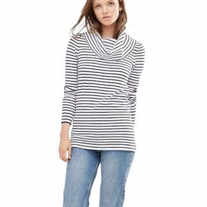 French Connection Women's Striped Cowl Turtleneck